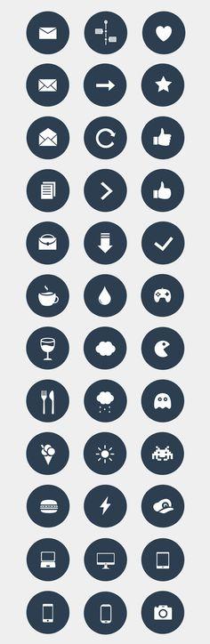 Set of varied icons by Júlia Mattos, via Behance