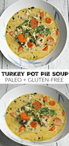Turkey Pot Pie Soup - great for Thanksgiving leftovers! Easy lunch or dinner recipe! Paleo and gluten-free! Turkey Pot Pie Soup - great for Thanksgiving leftovers! Easy lunch or dinner recipe! Paleo and gluten-free! Paleo Soup, Paleo Chicken Soup, Chicken Recipes, Paleo Vegan, Crispy Chicken, Healthy Recipes, Real Food Recipes, Cooking Recipes, Healthy Life