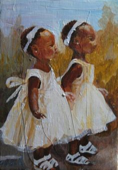 'Two' - by artist by Charon Rothmiller-Cash <> (art, illustrations of children, girls) Black Girl Art, Black Women Art, Art Girl, African American Art, African Art, Black Art Pictures, Black Artwork, Afro Art, Arte Pop