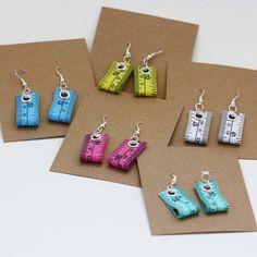 Five Pack of Tape Measure Earrings in Various Colors via Etsy