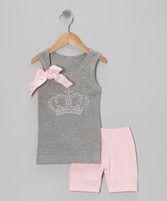 Take a look at this Gray Crown Tank & Pink Shorts - Toddler & Girls by Beary Basics on #zulily today!