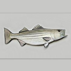 STRIPED BASS wood fish carving striped bass art by WOODNARTS, $225.00