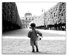 Paris Photography - Black and White Photograph, Young Boy with Soccer Ball, Le Football,  Nursery Decor, Wall Decor