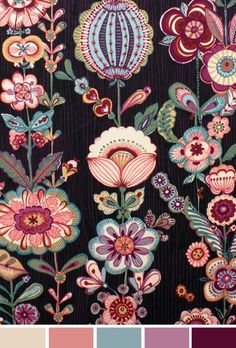 Anastasia Red Cotton Fabric by Alexander Henry fancy moon Motifs Textiles, Textile Prints, Textile Patterns, Print Patterns, Floral Patterns, Art Et Illustration, Pattern Illustration, Illustrations, Surface Pattern Design