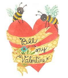 free printable bee my valentine Card