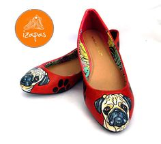 Pug Ballerina Flat Shoes.  Choose the background colour.  This listing is for one pair of custom, hand painted shoes. The listing images are of previous