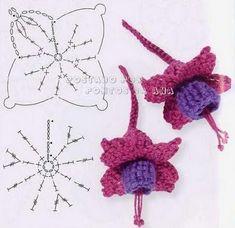Flores de Kinga crochet patron by Nathalie Forcier Crochet Puff Flower, Crochet Flower Tutorial, Crochet Leaves, Crochet Motifs, Knitted Flowers, Crochet Flower Patterns, Freeform Crochet, Crochet Diagram, Crochet Chart