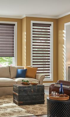 Style your space with Layered Shades. Pictured #LivingRoom has @baliblinds Layered Shades with Continous-Loop Lift from the Aloft collection in color Bark 4543.