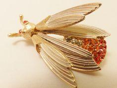 Vintage Gold Tone Florenza Rhinestone Bug by TheJewelryCabinet