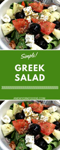 Simple Greek Salad recipe. Made with juicy tomatoes, romaine lettuce, cucumbers, creamy feta cheese, red onions, olives, green peppers and oregano. Dressed in a simple olive oil and red wine vinegar dressing.