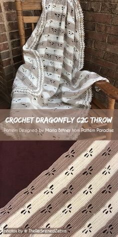 Wondering what pattern to choose for your next crochet blanket? Today I will suggest you the Dragonfly Crochet Throw Pattern. Crochet C2c, Crochet Throw Pattern, Crochet Quilt, Crochet Stitches Patterns, Baby Blanket Crochet, Crochet Baby, Crochet Blankets, Scarf Crochet, Afghan Patterns