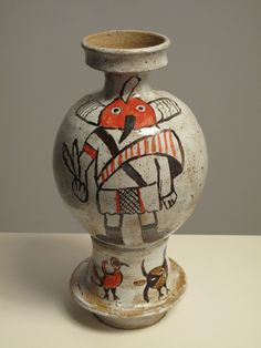 Michael and Magdalena Suarez Frimkess~Kachina Bottle, Ready for the House: ceramics