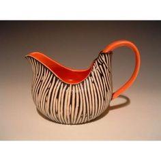 orange black and white sgraffito pitcher pottery ceramics clay