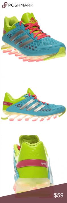 Adidas spring blade new Take off with explosive energy in the adidas Springblade Razors, designed for the speed demon in us all.Durable synthetic and breathable mesh razor-wire upper.Molded EVA sockliner midsole and nonslip lining.Polymer outsole.  Adidas Boys Athletic Solar Slime/Samba Blue/Bahia Pink. This are girls size 6 I am an woman 8 and fit me perfect. They are brand new but no box adidas Shoes Sneakers