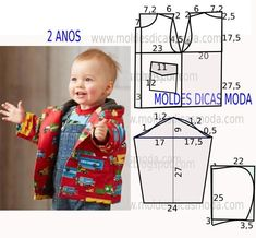 Sewing Baby Jacket Children 52 Ideas For 2019 Baby Dress Patterns, Baby Clothes Patterns, Kids Patterns, Clothing Patterns, Sewing For Kids, Baby Sewing, Fashion Kids, Baby Boy Jackets, Sewing Clothes