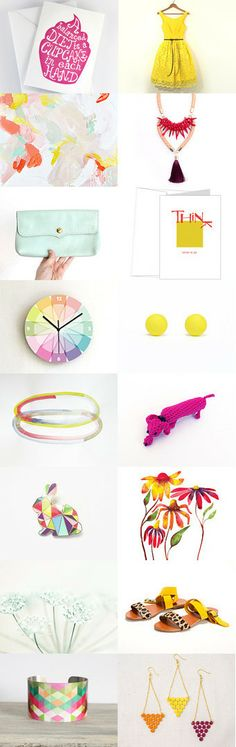 colorful spring fever #etsytreasury by Barbara on #Etsy #bright #fresh #pink #purple #yellow #trends #fashion #spring #trending #art #accessories #geometric #abstract #home #decor
