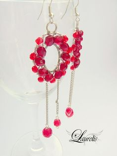 Ruby Red oval glass earrings  silver plated by Laurelisbijoux, $19.90