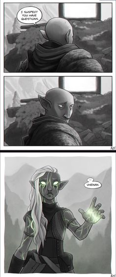 I'm speechless about this art, too many feels. | Solas and Lavellan romance, Solavellan, Dragon Age: Inquisition