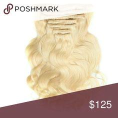 Platinum Blonde Wavy clip in Human Hair extensions Platinum blonde wavy clip in human hair extensions Accessories Hair Accessories