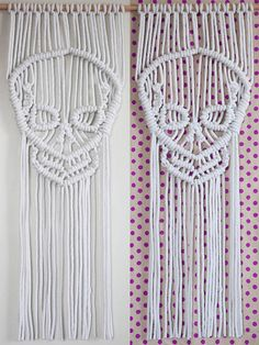 Skull Wall Hanging - White, Macrame, Natural Cotton