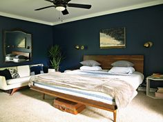 This Little Miggy Stayed Home: Master Bedroom Reveal (Behr Starless Night)