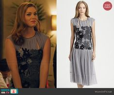 AnnaBeth's purple dress with black lace middle on Hart of Dixie.  Outfit Details: http://wornontv.net/46242/ #HartofDixie