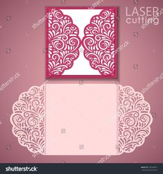 Laser cut wedding invitation card template vector. Die cut paper card with lace pattern. Cutout paper gate fold card for laser cutting or die cutting.