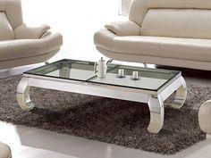 Glamour salongbord m/ klart herdet glass i rustfritt og polert stål Art nr: CO0153