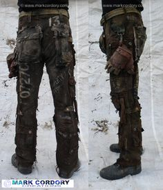Post Apocalyptic Mad Max style LARP trousers made by Mark Cordory Creations www.markcordory.com