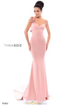 Ultra romantic Tarik Ediz style 93461 will have heads turning. This gorgeous dress features an illusion neckline with amazing floral embellishments alon...