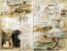 Eugène Delacroix, At Meknes: Landscape, Doors, with Figures of Arabs and Jews, 1832. Pen and brown ink, watercolor, sketchbook with 97 sheets, each sheet 19.3 x 12.7 cm.  Paris, Musée du Louvre.