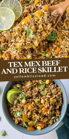 Tex Mex Ground Beef and Rice Skillet is quick and easy enough for a weeknight dinner and uses simple ingredients like with rice, ground beef and veggies. Ground Beef Rice, Beef And Rice, Ground Beef Recipes, Ground Beef With Potatoes, Ground Turkey, Rice Recipes, Mexican Food Recipes, Ethnic Recipes, Ideas