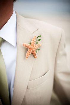 Starfish groom boutonniere and more fun beach-theme wedding ideas: