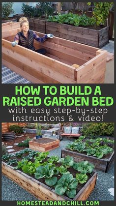 Come learn everything you need to know to build a durable and beautiful raised garden bed including tips on location design supplies needed best practices and wood types with these step-by-step instructions and a tutorial video too # Cheap Raised Garden Beds, Building Raised Garden Beds, Raised Bed Diy, Raised Bed Gardens, Raised Garden Bed Plans, Raised Bed Garden Design, Diy Garden Bed, Raised Vegetable Gardens, Big Garden