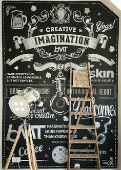 Chalk Wall by Ricardo Martins, via Behance Blackboard Art, Chalkboard Lettering, Chalkboard Designs, Chalkboard Walls, Mural Art, Wall Murals, Deco Cafe, Typographie Logo, Chalk Wall
