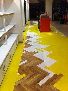 Selfridges Big Yellow Floor Supplied and Fitted By McKay Flooring    http://www.mckayflooring.co.uk/shop/product.cfm/intProductId/1426/name/Parquet_Blocks_Coloured_Parquet_Blocks_Small