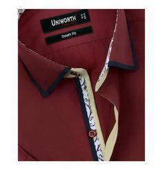 Crimson Plain Half Sleeve Designer Dress Shirt