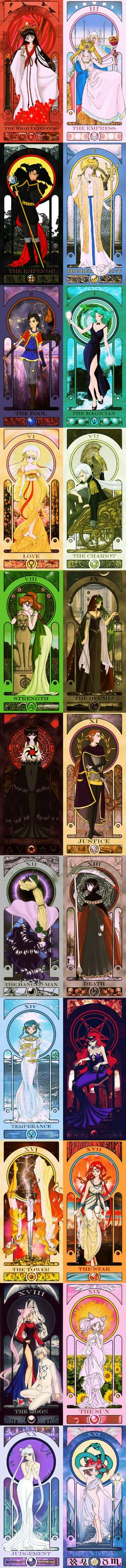 ... whoa! Imagine using these as an attack or summons? Oooooo. *ponders-*   Sailor Moon Tarot cards