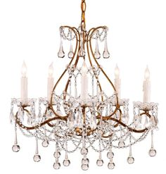 "The Paramour Chandelier, with its array of teardrops and strands of  crystal, is the embodiment of grace and splendor. The classic contour's  rich Smoke Gold finish confers a sense of grandeur to this time-honored  style.       * 18"" Height x 19"" Width      * 5 Lights : 60 Watt per l"