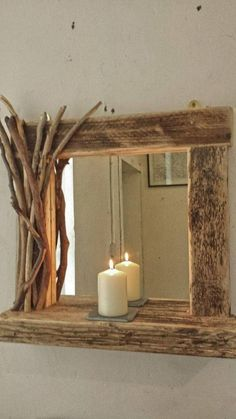 Rustic reclaimed driftwood mirror with shelf and decorated frame in Home, Furniture & DIY, Home Decor, Mirrors Driftwood Furniture, Driftwood Mirror, Rustic Furniture, Diy Furniture, Bespoke Furniture, Scandinavian Furniture, Street Furniture, Furniture Projects, Garden Furniture