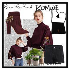 """Romwe Romwe"" by elmaimsirovic-732 ❤ liked on Polyvore featuring Aquazzura and Yves Saint Laurent"