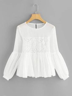 To find out about the Lace Panel Semi Sheer Smock Top at SHEIN, part of our latest Blouses ready to shop online today! Stylish Dresses For Girls, Dresses Kids Girl, Lovely Dresses, White Tshirt Outfit, Blouse Outfit, Teen Fashion Outfits, Casual Outfits, Fashion Dresses, Muslim Fashion