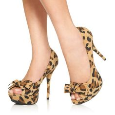 Tapanga-leopard heels with bow