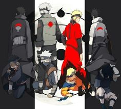 Obito, Kakashi, Naruto, Sasuke and their younger selves NOOOO, THEYRE ALL SO CUTE!!...that's all I have to say..