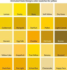 Color Swatches for Cyan, Yellow, Yellow-Green and Green #kitchendesignyellowcolour