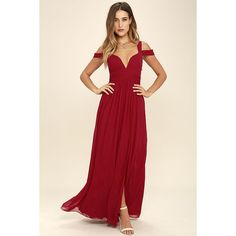 LULUS x Bariano Ocean of Elegance Wine Red Maxi Dress featuring polyvore, women's fashion, clothing, dresses, gowns, red, red evening gowns, pink prom dresses, evening maxi dresses, red maxi dress and evening dresses