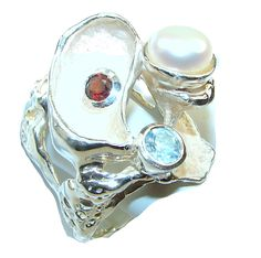 $128.35 Amazing Design Of Fresh Water Pearl Italy Made Sterling Silver ring s. 8 at www.SilverRushStyle.com #ring #handmade #jewelry #silver #freshwaterpearl