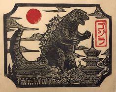 Godzilla in Japan Linocut by WoodcutEmporium on Etsy Japanese Prints, Japanese Art, Godzilla Tattoo, Godzilla Godzilla, Arte Indie, Japanese Monster, Japon Illustration, Matchbox Art, Art Japonais