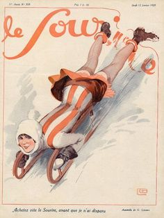 Original vintage published in 1928 Georges Léonnec Sled, Winter Sports illustrated by Georges Léonnec — Le Sourire French Illustration, Illustrations Vintage, Vintage Artwork, Christmas Illustration, French Art, French Vintage, Lingerie Images, Art Français, Pin Up