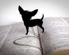 Collana con ciondolo chihuahua Nero- Plexiglass Lucido